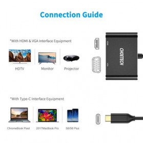 CHOETECH Kabel Video Adapter Converter USB Type C to HDMI 4K VGA 1080P - HUB-M17 - Black - 4