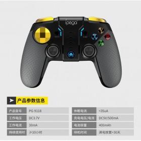 Ipega Gold Warrior Bluetooth Gamepad Controller PUBG ML for Smartphone - PG-9118 - Black - 9