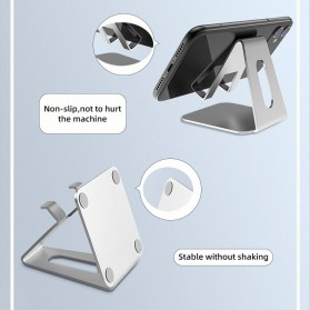 ACCEZZ Smartphone Tablet Stand Holder Bahan Aluminium - S3 - Silver - 9