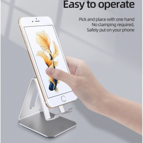 ACCEZZ Smartphone Tablet Stand Holder Bahan Aluminium - S3 - Silver - 2