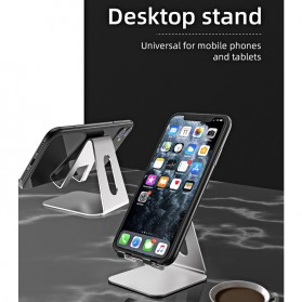 ACCEZZ Smartphone Tablet Stand Holder Bahan Aluminium - S3 - Silver - 3