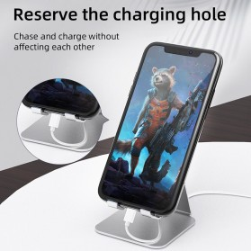 ACCEZZ Smartphone Tablet Stand Holder Bahan Aluminium - S3 - Silver - 6