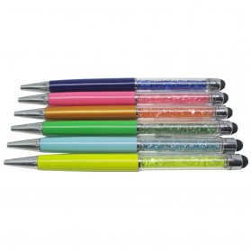 High Sensitivity Stylus Pen with Transparent Rhinestones for Smartphone and Tablet PC - STP-05S - Orange