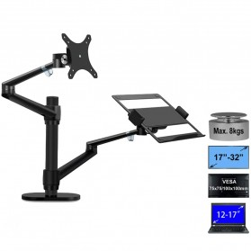 Hyvarwey Monitor Dual Arm Bracket Vesa Mount 17-32 Inch with Laptop Holder - OL-3L - Black