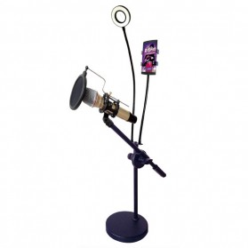Microphone Stand Flexible Lazypod with Smartphone Holder & Ring Light - RT-12B - Black