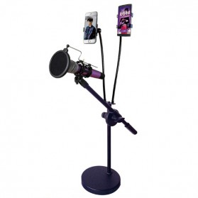 Fasdga Microphone Stand Flexible Lazypod with 2 x Smartphone Holder - RT-222 - Black