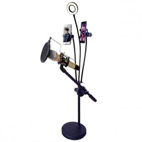Microphone Stand Flexible Lazypod with 2 x Smartphone Holder & Ring Light - RT-222B - Black