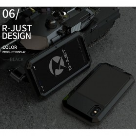 R-JUST Full Protective Heavy Duty Armor Case Metal Aluminium for iPhone X/XS - Black