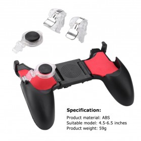 ALLOYSEED 5 in 1 Gamepad Grip Trigger Aim L1 R1 PUBG Fortnite - D9 - Black - 9
