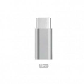 HCQWBING Mini Adapter USB Type C ke 3.5mm Audio Port - H89 - Silver - 1