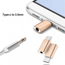 HCQWBING Mini Adapter USB Type C ke 3.5mm Audio Port - H89 - Silver - 2