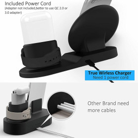 ATS Wireless Charging Docking Station 3 in 1 for Smartphone Apple Watch Airpods - K311 - Black - 2