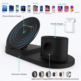 ATS Wireless Charging Docking Station 3 in 1 for Smartphone Apple Watch Airpods - K311 - Black - 3