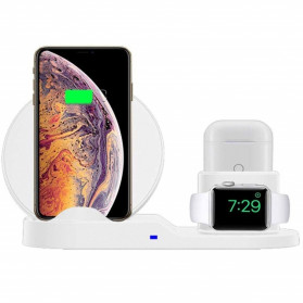 ATS Wireless Charging Docking Station 3 in 1 for Smartphone Apple Watch Airpods - K311 - Black - 4