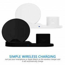 ATS Wireless Charging Docking Station 3 in 1 for Smartphone Apple Watch Airpods - K311 - Black - 5