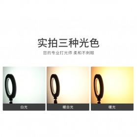 JLAMP LED Selfie Ring Fill Light Dimmable Live Stream Tiktok 6 Inch with 2 Smartphone Holder - 222B - Black - 2