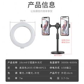JLAMP LED Selfie Ring Fill Light Dimmable Live Stream Tiktok 6 Inch with 2 Smartphone Holder - 222B - Black - 3