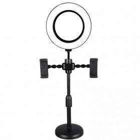 JLAMP LED Selfie Ring Fill Light Dimmable Live Stream Tiktok 6 Inch with 2 Smartphone Holder - 222B - Black - 5