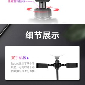 JLAMP LED Selfie Ring Fill Light Dimmable Live Stream Tiktok 6 Inch with 2 Smartphone Holder - 222B - Black - 7