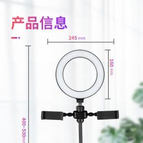 JLAMP LED Selfie Ring Fill Light Dimmable Live Stream Tiktok 6 Inch with 2 Smartphone Holder - 222B - Black - 9