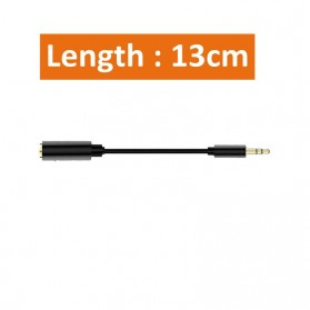OLLIVAN Kabel Audio AUX 3.5mm 4 Pole to 3 Pole Male to Female 13cm - AV119 - Black