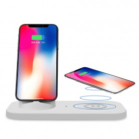 JAVY Qi Wireless Charging Dock Fast Charger with Micro USB + Type C + Lightning Charger - UV-02 - White