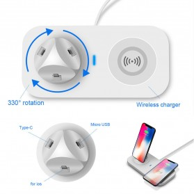 JAVY Qi Wireless Charging Dock Fast Charger with Micro USB + Type C + Lightning Charger - UV-02 - White - 4