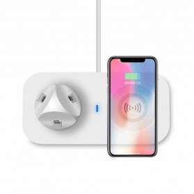 JAVY Qi Wireless Charging Dock Fast Charger with Micro USB + Type C + Lightning Charger - UV-02 - White - 5