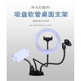 BePotofone LED Selfie Ring Fill Light Dimmable Live Stream Tiktok 8 Inch with 2xHolder - BRL71 - Black - 6