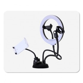 BePotofone LED Selfie Ring Fill Light Dimmable Live Stream Tiktok 8 Inch with 2xHolder - BRL71 - Black - 7