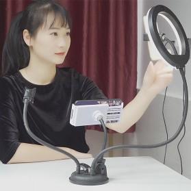 BePotofone LED Selfie Ring Fill Light Dimmable Live Stream Tiktok RGBW 10 Inch with 2xHolder - BRL71 - Black - 2