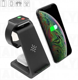 Baterai & Charger - AICNLY Fast Wireless Charger Dock 3 in 1 Smartphone Airpods Apple Watch - T3 - Black