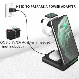 AICNLY Fast Wireless Charger Dock 3 in 1 Smartphone Airpods Apple Watch - T3 - Black - 4