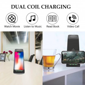 AICNLY Fast Wireless Charger Dock 3 in 1 Smartphone Airpods Apple Watch - T3 - Black - 5