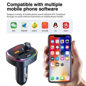 MHEXIANG Bluetooth Audio Receiver FM Transmitter Handsfree with USB Car Charger - C13 - Black - 8