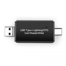OTG Card Reader 3 in 1 Lightning + USB Type C - YC-250 - Black - 2