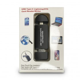 OTG Card Reader 3 in 1 Lightning + USB Type C - YC-250 - Black - 6