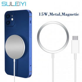 SULEIYI Qi Magnetic Wireless Charger MagSafe Fast Charging USB Type C 15W - Gray Silver
