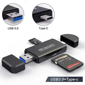 IAHEAD OTG Memory Card Reader USB Type C + USB 3.0 - YC-320 - Black
