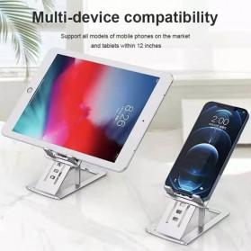 VEEAII Smartphone Tablet Stand Holder Foldable Aluminium 6 Adjustment - Z5 - Silver