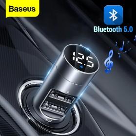 Baseus Car Bluetooth 5.0 FM Audio Transmitter with 2 USB Port - BS-01 - Dark Gray