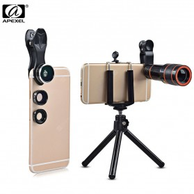 APEXEL 4 in 1 Lensa Fisheye + Macro + Wide Angle + Telephoto Lens Kit + Mini Tripod - APL-HS12XDG3ZJ - Black