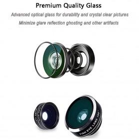 APEXEL 4 in 1 Lensa Fisheye + Macro + Wide Angle + Telephoto Lens Kit + Mini Tripod - APL-HS12XDG3ZJ - Black - 2