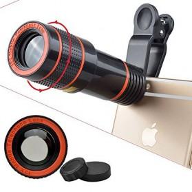 APEXEL 4 in 1 Lensa Fisheye + Macro + Wide Angle + Telephoto Lens Kit + Mini Tripod - APL-HS12XDG3ZJ - Black - 3
