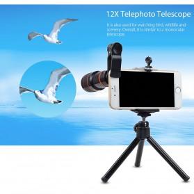 APEXEL 4 in 1 Lensa Fisheye + Macro + Wide Angle + Telephoto Lens Kit + Mini Tripod - APL-HS12XDG3ZJ - Black - 4
