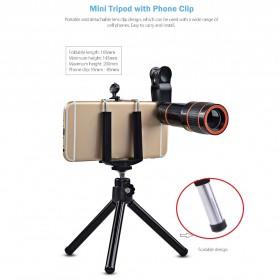APEXEL 4 in 1 Lensa Fisheye + Macro + Wide Angle + Telephoto Lens Kit + Mini Tripod - APL-HS12XDG3ZJ - Black - 5