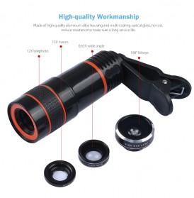 APEXEL 4 in 1 Lensa Fisheye + Macro + Wide Angle + Telephoto Lens Kit + Mini Tripod - APL-HS12XDG3ZJ - Black - 6