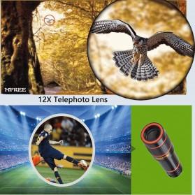 APEXEL 4 in 1 Lensa Fisheye + Macro + Wide Angle + Telephoto Lens Kit + Mini Tripod - APL-HS12XDG3ZJ - Black - 7