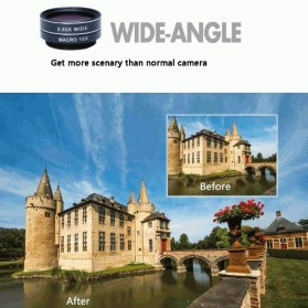 APEXEL 4 in 1 Lensa Fisheye + Macro + Wide Angle + Telephoto Lens Kit + Mini Tripod - APL-HS12XDG3ZJ - Black - 8