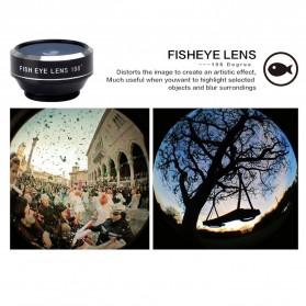 APEXEL 4 in 1 Lensa Fisheye + Macro + Wide Angle + Telephoto Lens Kit + Mini Tripod - APL-HS12XDG3ZJ - Black - 9